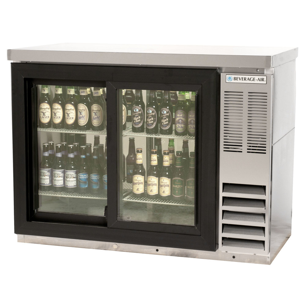 "Beverage Air BB48GSY-1-S-27 48"" SS Back Bar Refrigerator with Sliding Glass Doors and Stainless Steel Top - 115V"