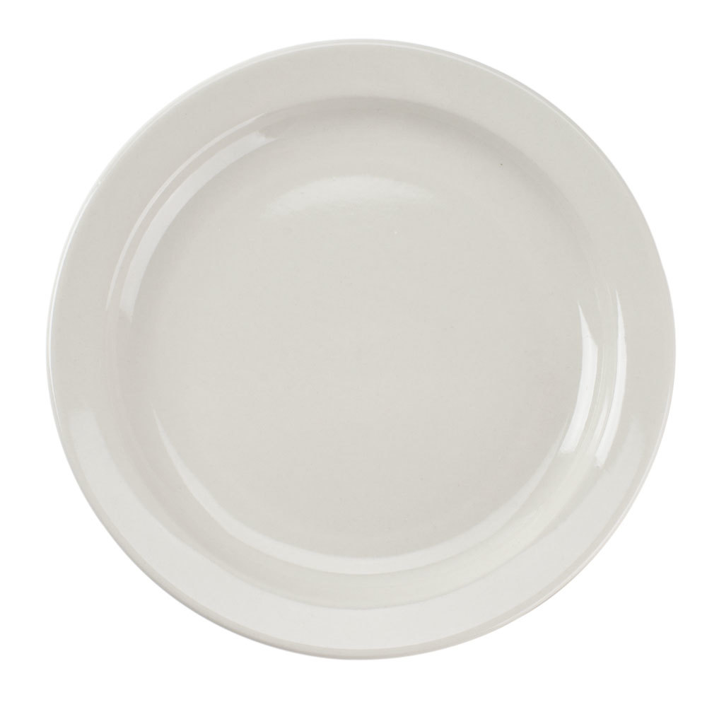 Narrow Rim 7 1/4 inch American White (Ivory/Eggshell) China Plate - 36 / Case