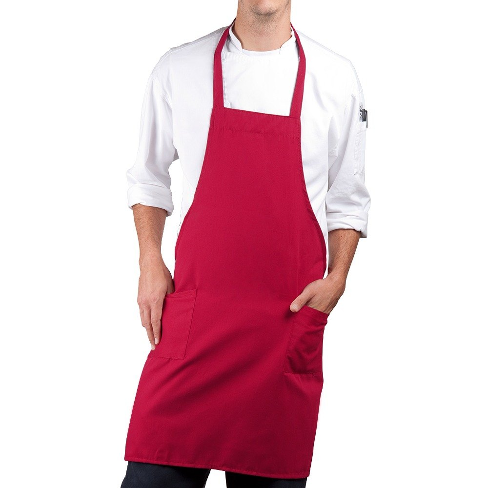 Red Choice Full Length Bib Apron with Pockets - 34 inchL x 30 inchW