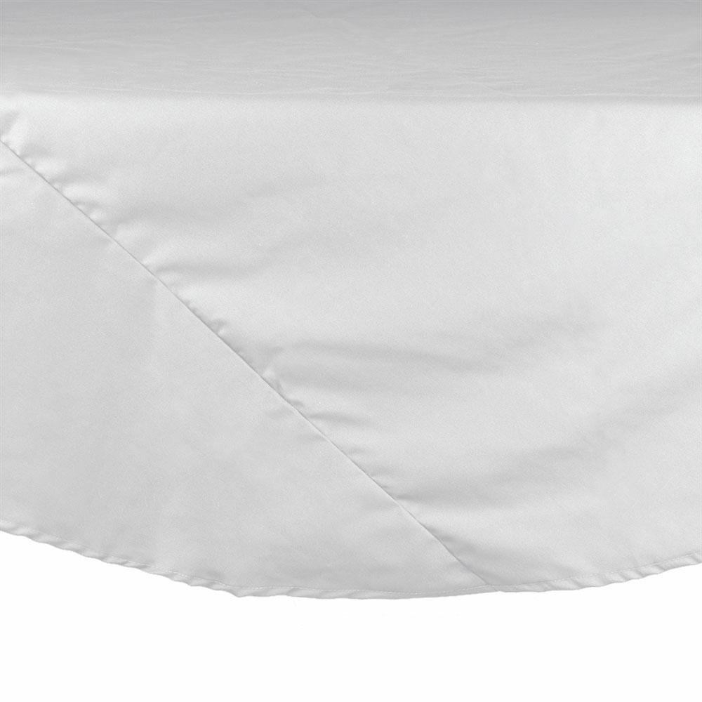 "83"" White Round Hemmed Polyspun Cloth Table Cover"