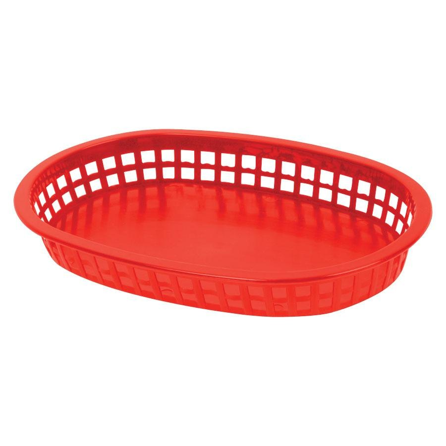 10 3/4 inch x 7 inch x 1 1/2 inch Red Oval Plastic Fast Food Basket 12 / Pack