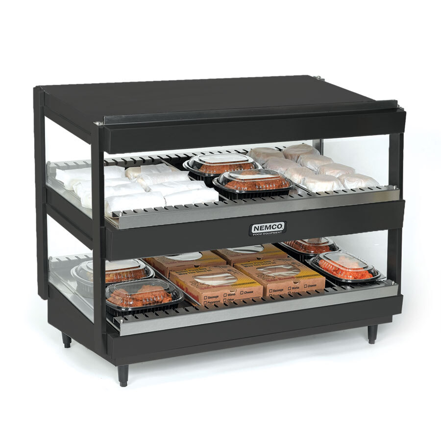 Nemco 6480-30SB Black 30 inch Slanted Double Shelf Merchandiser - 120V