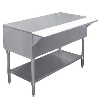 "APW WT-3 22 1/2"" x 48"" Stainless Steel Work-Top Counter with Cutting Board and Galvanized Undershelf"
