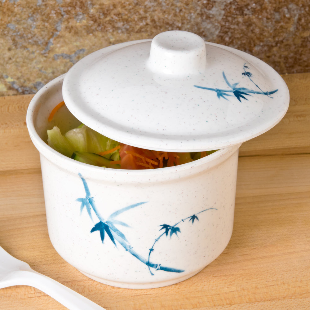 Blue Bamboo 14 oz. Round Melamine Special Bowl with Lid - 12/Case