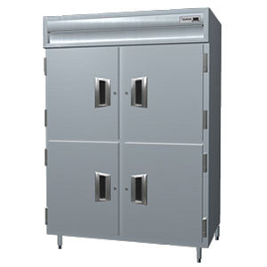 Delfield Stainless Steel SSH2N-SH 43.94 Cu. Ft. Solid Half Door Two Section Narrow Reach In Heated Holding Cabinet - Specification Line