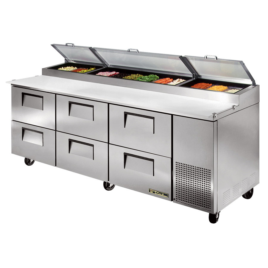 True Tpp 93d 6 93 Quot Six Drawer Refrigerated Pizza Prep Table