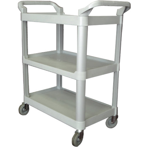"33 1/4"" x 17"" x 37 1/2"" Gray Three Shelf Utility Cart / Bus Cart"