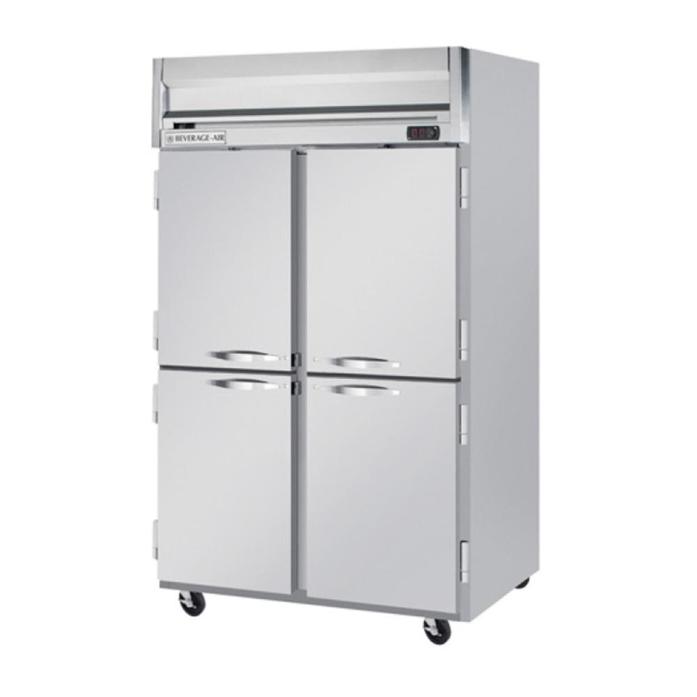 Beverage Air HFS2-1HS 2 Section Solid Half Door Reach-In Freezer - 49 cu. ft., Stainless Steel Front, Gray Exterior, Stainless Steel Interior