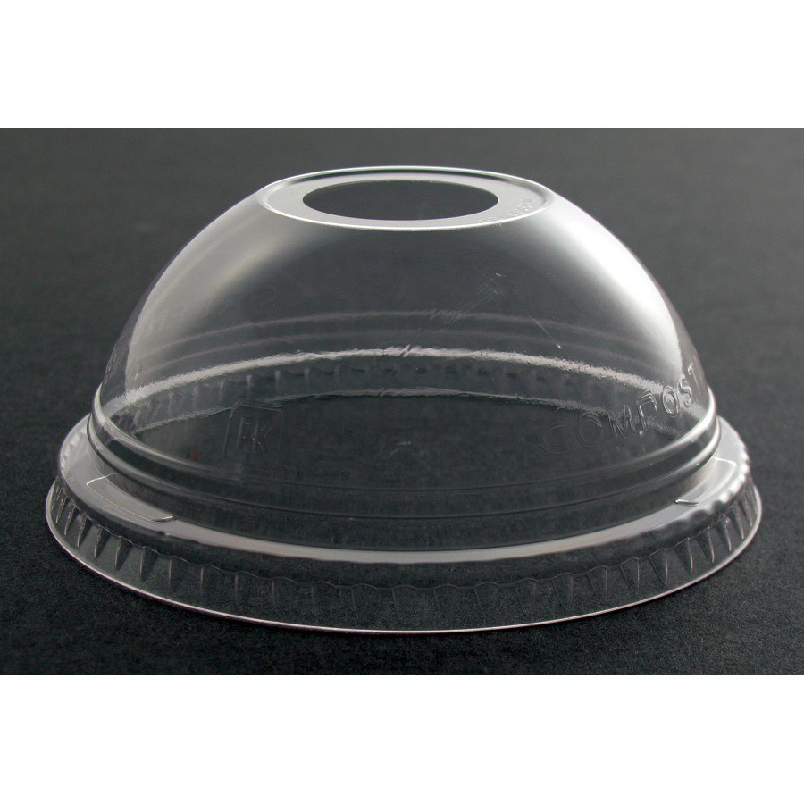 Fabri-Kal Greenware DLGC12/20 Compostable Clear Dome Lid with 1 inch Hole 1000 / Case