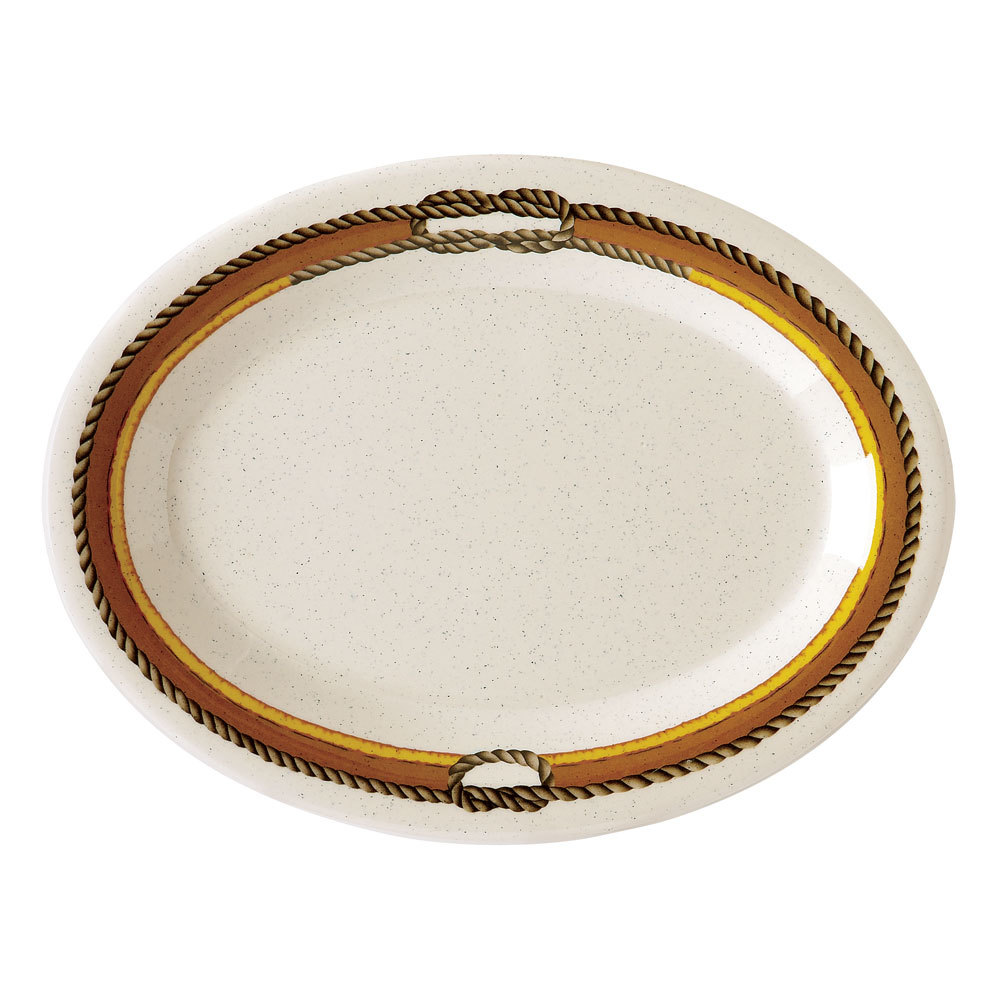 "GET OP-950-RD 9 3/4"" x 7 1/4"" Diamond Rodeo Oval Platter - 24/Case"