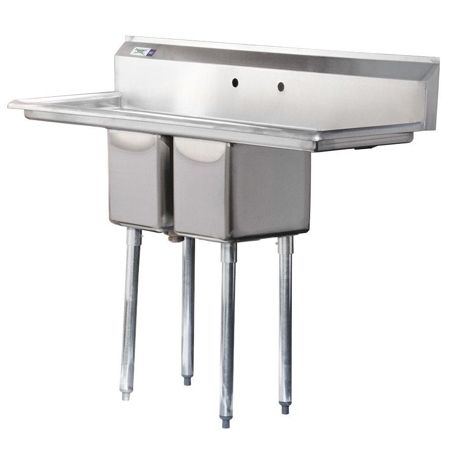 Commercial Sinks Stainless Steel : Sinks Regency 16 Gauge Two Compartment Stainless Steel Commercial Sink ...