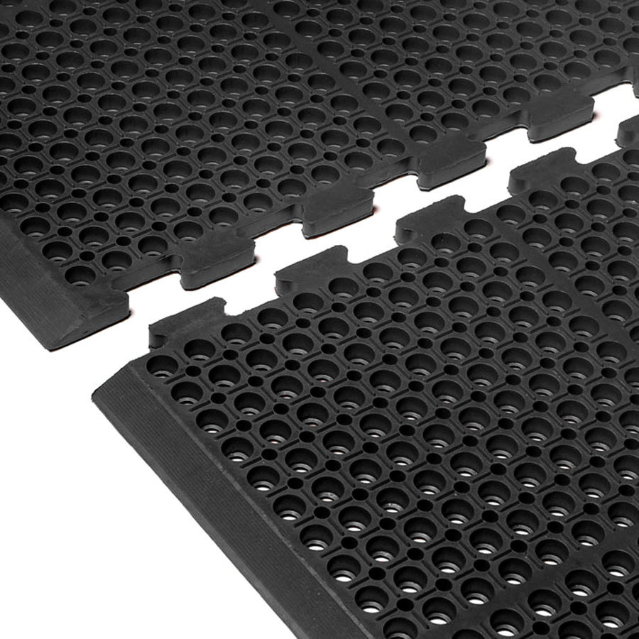 "Cactus Mat 4420-CEWB VIP Duralok 3' 2"" x 5' 1"" Black End Interlocking Anti-Fatigue Anti-Slip Floor Mat with Beveled Edge - 3/4"" Thick"