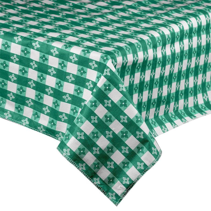 60 inch Round Green-Checkered Vinyl Table Cover with Flannel Back