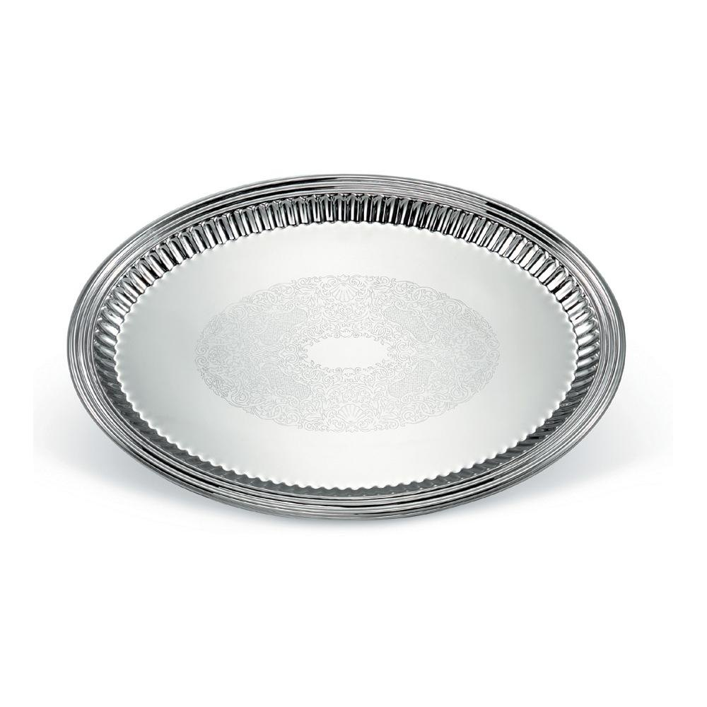 "Vollrath 82173 Esquire 21"" x 15 1/2"" Oval Fluted Stainless Steel Tray"