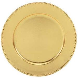 "Tabletop Classics TRG-6655 13"" Round Gold Acrylic Charger Plate with Beaded Rim"