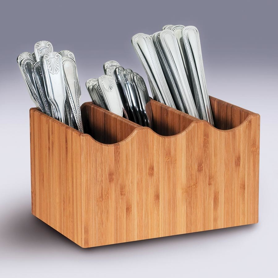 Cal Mil 1244 3-Slot Bamboo Flatware Holder