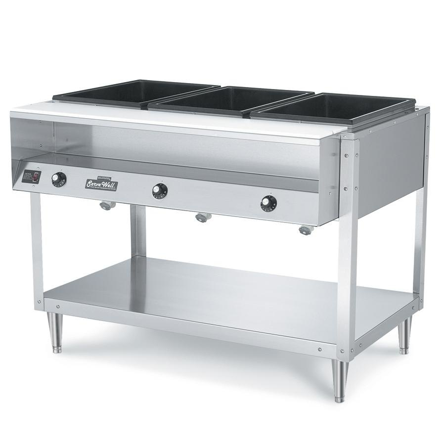 Vollrath 38003 ServeWell Electric 3 Well Hot Food Table 120V - Sealed Well