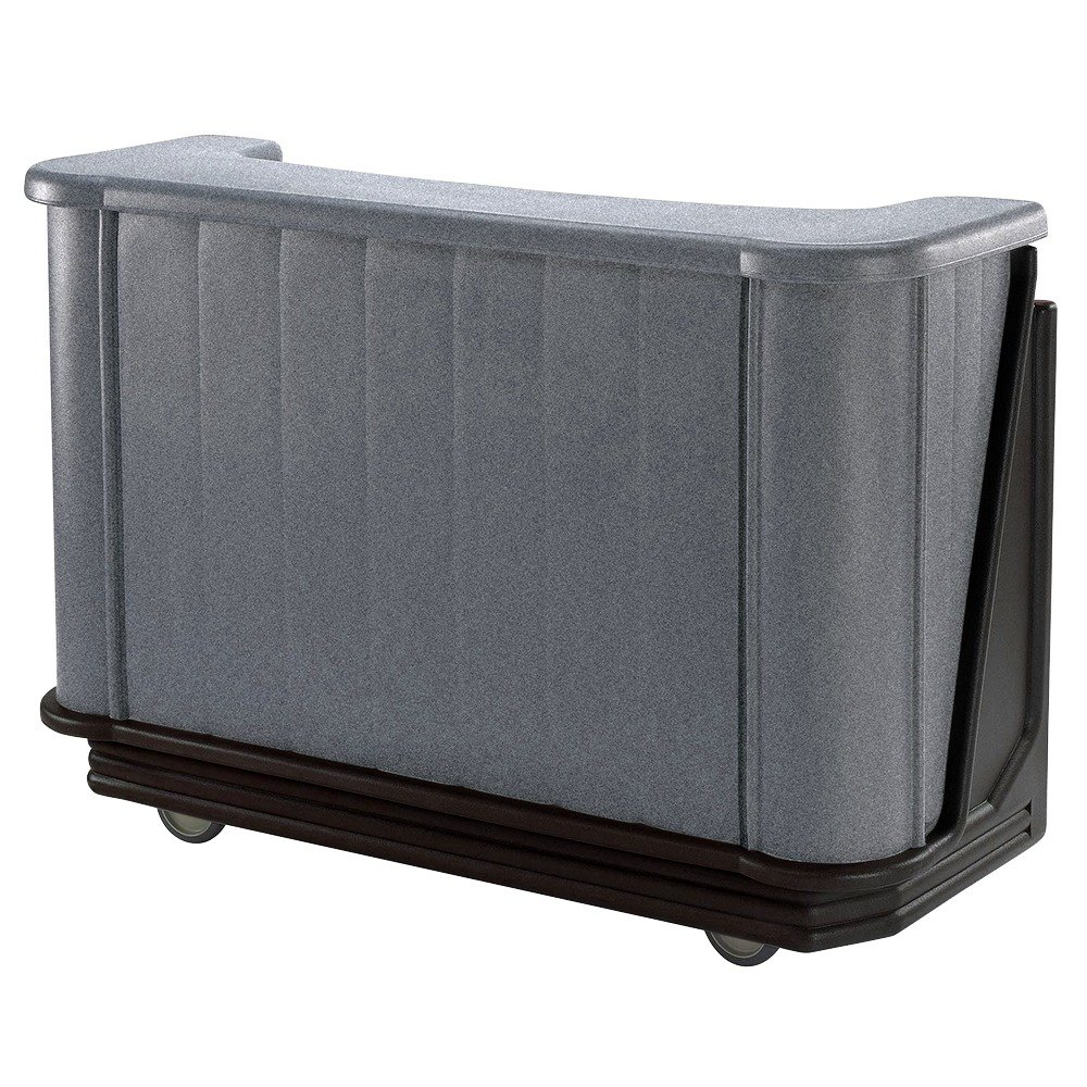 "Cambro BAR650420 Granite Gray and Black Cambar 67"" Portable Bar with 7-Bottle Speed Rail"