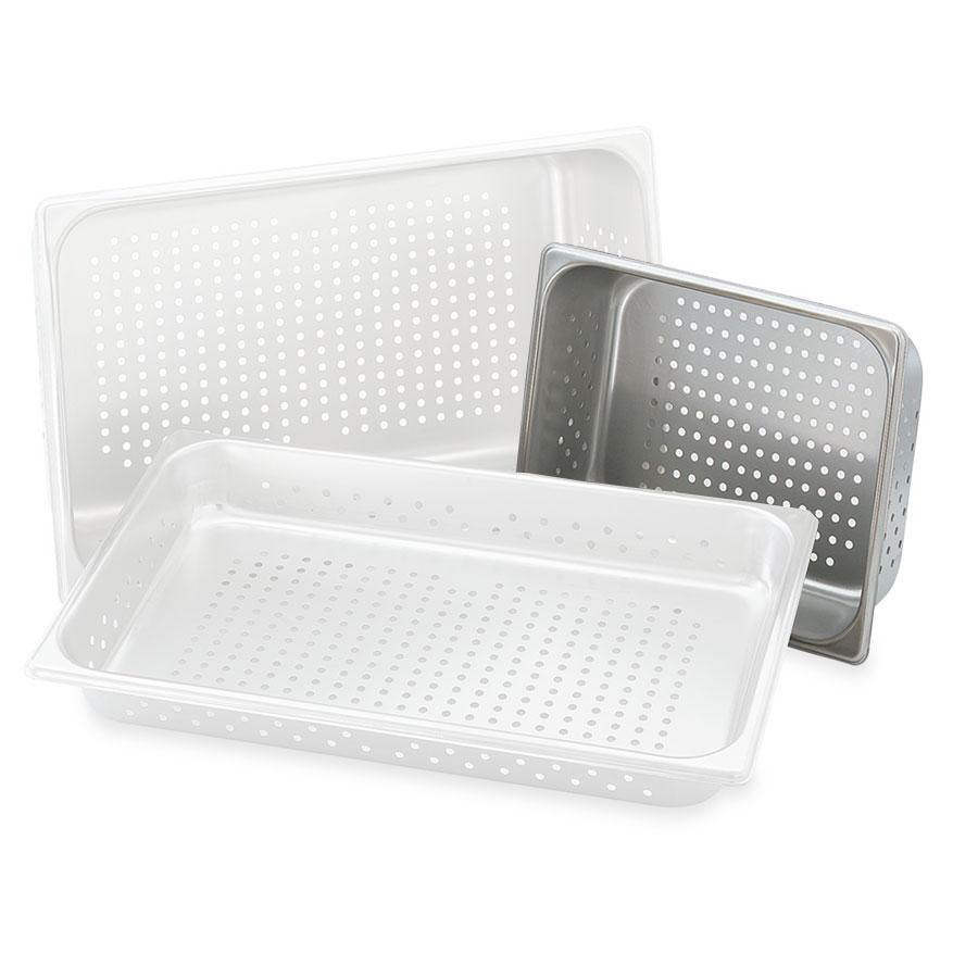 "Vollrath 30243 Super Pan V 1/2 Size Anti-Jam Stainless Steel Perforated Steam Table / Hotel Pan - 4"" Deep"