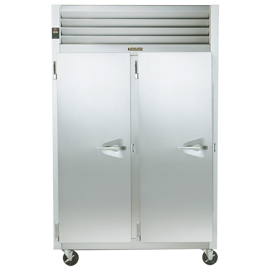 Traulsen G24315P 2 Section Pass Thru Hot Food Holding Cabinet with Left Hinged Doors