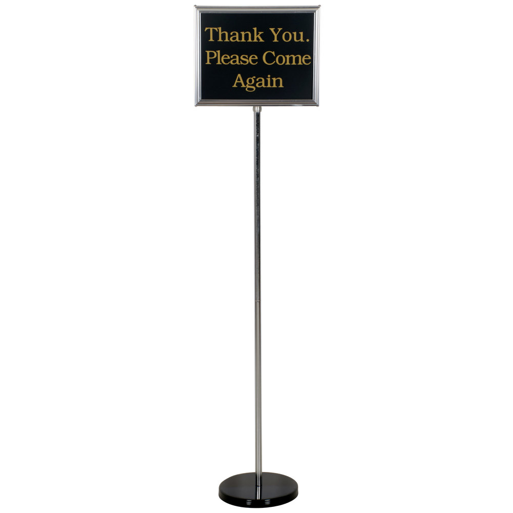 "Chrome 60"" Changeable Hostess / Teller Sign with 15 Messages"