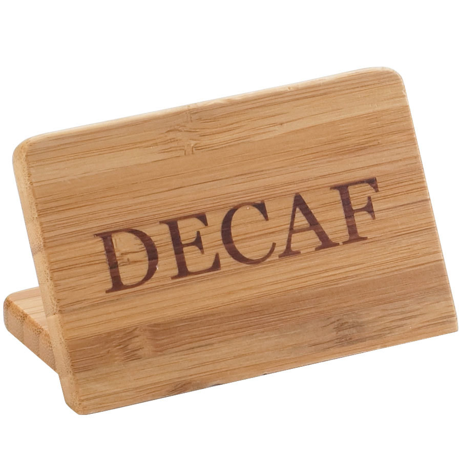 "Cal-Mil 606-2 3"" x 2"" Bamboo ""Decaf"" Beverage Sign"
