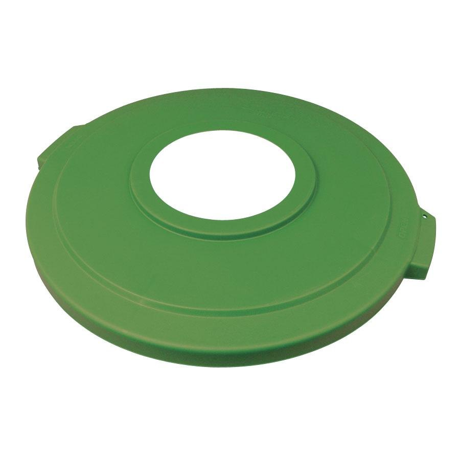 "Carlisle 341033REC09 Green 32 Gallon Recycling Lid with 8"" Hole"