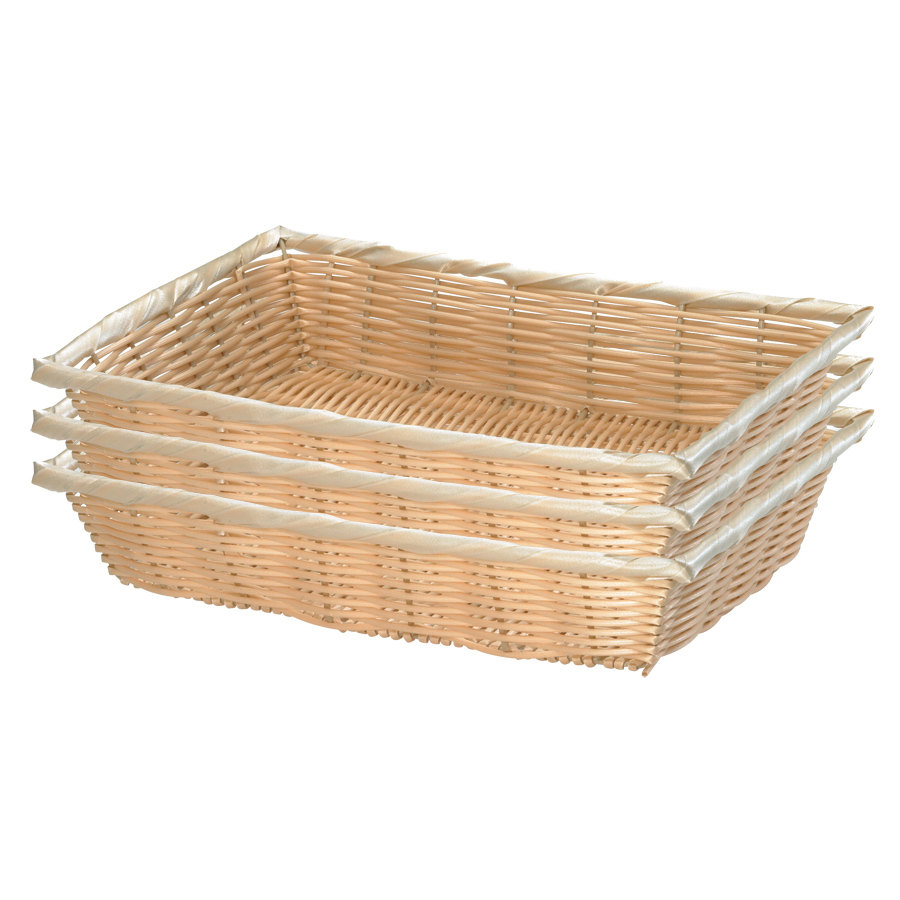 "Tablecraft 1189W 16"" x 11 1/4"" x 3 1/8"" Rectangular Woven Rattan-Like Basket - 3/Pack"