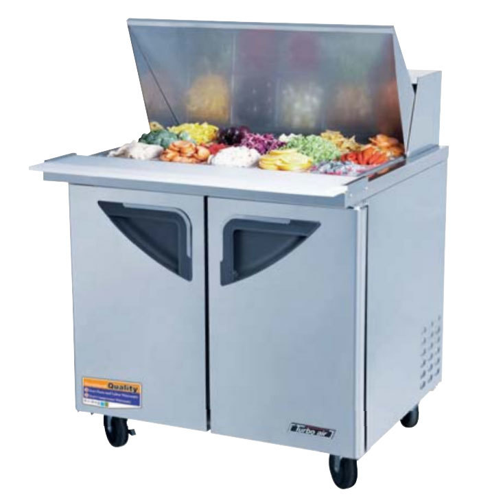 "Turbo Air TST-36SD-15 36"" Super Deluxe Stainless Steel Mega Top Refrigerated Salad / Sandwich Prep Table with Two Doors and Deluxe Shelving"