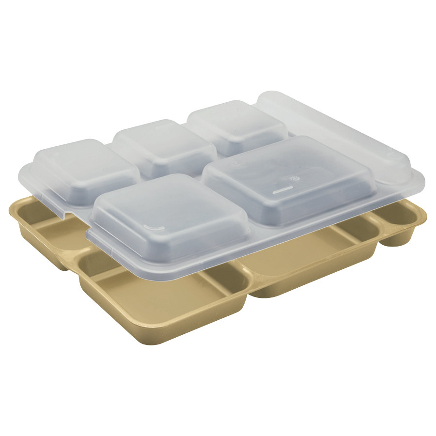 "Cambro 10146DCW133 10"" x 14 3/16"" Beige 6 Compartment Serving Tray - 24/Case"