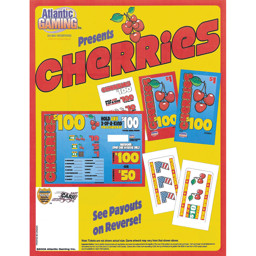 """Cherries"" 1 Window Pull Tab Tickets - 210 Tickets Per Deal - Total Payout: $140 at Sears.com"