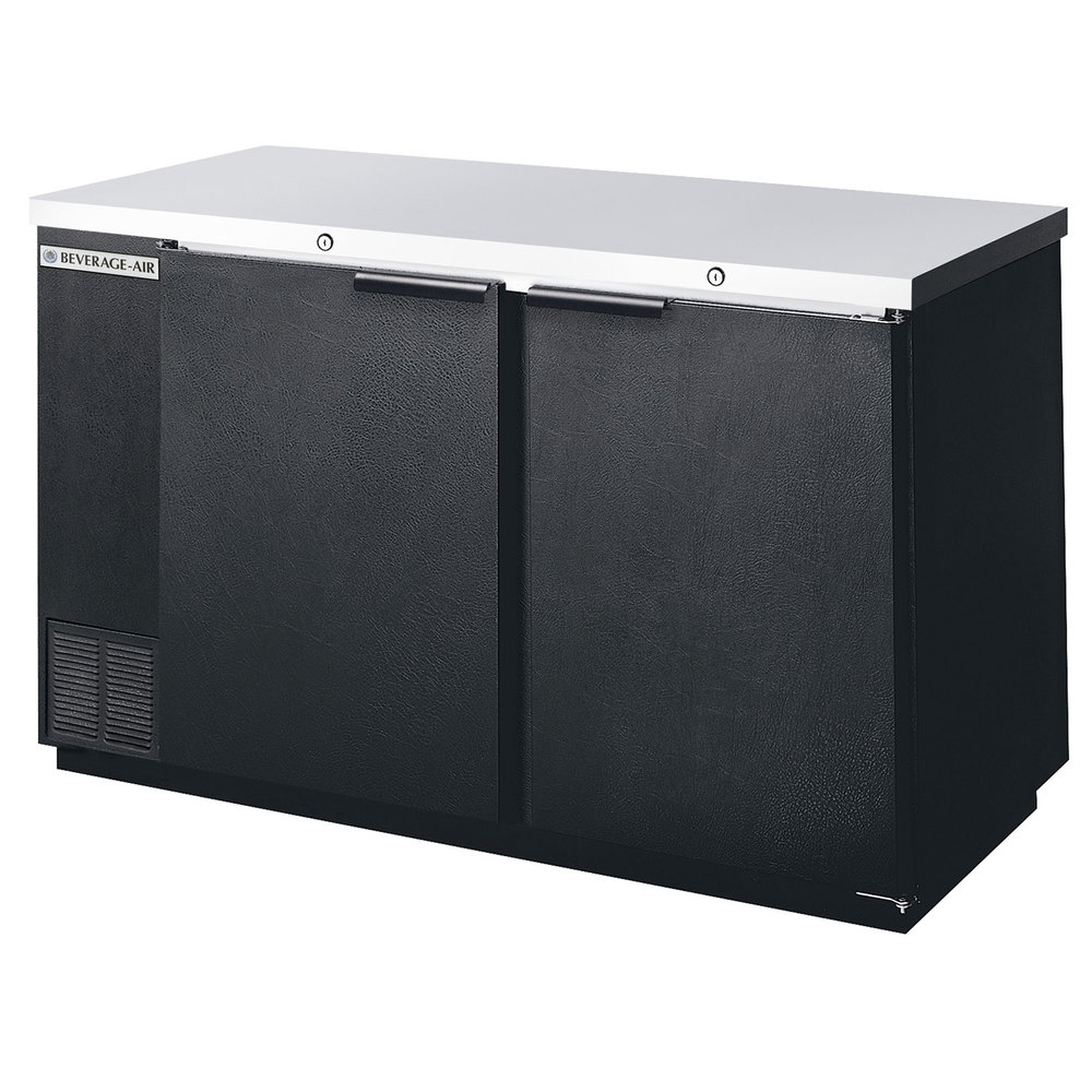 "Beverage Air BB58R-1-B 58"" Black Remote Cooled Back Bar Refrigerator with 2 Solid Doors - 115V"