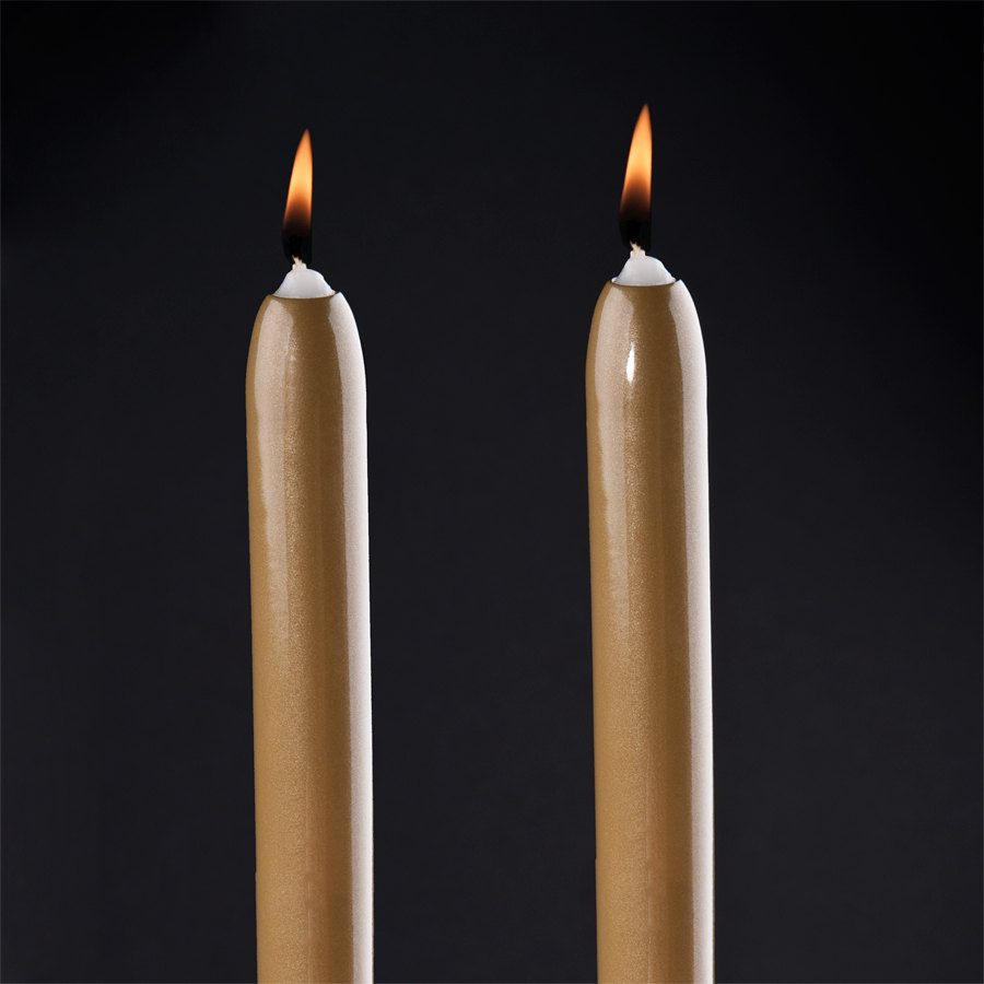 "Will & Baumer 8"" Gold Chace Candle 2 / Pack"