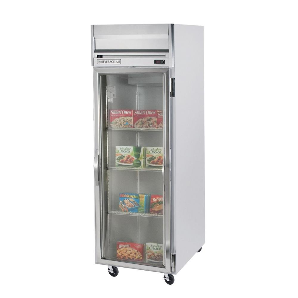 Beverage Air HFP1-1G-LED 1 Section Glass Door Reach-In Freezer - 24 cu. ft., Stainless Steel Exterior