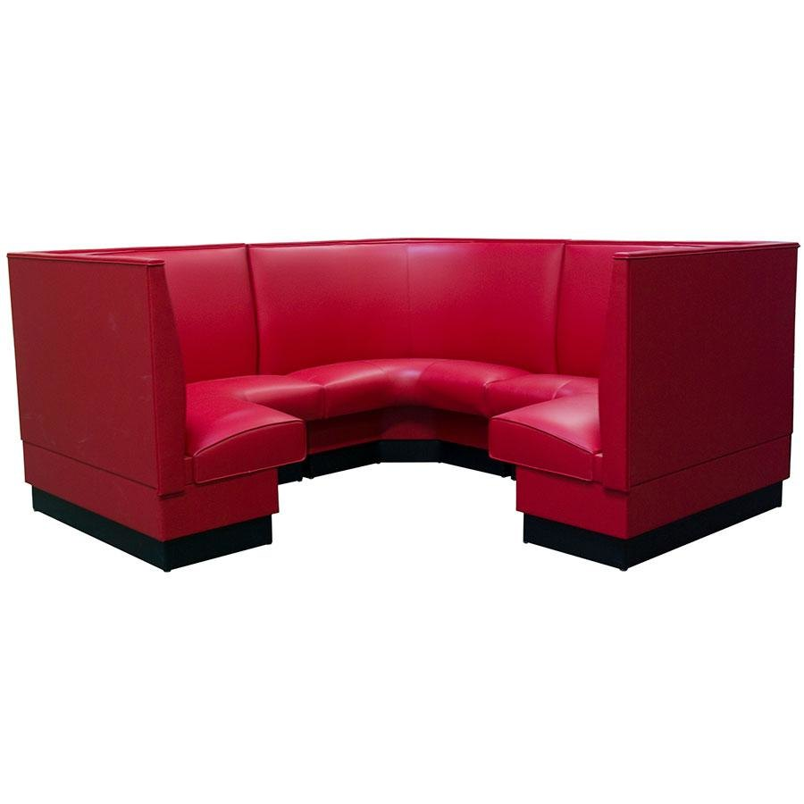 "American Tables & Seating AS-36-3/4 Plain Fully Upholstered Corner Booth 3/4 Circle - 36"" High"