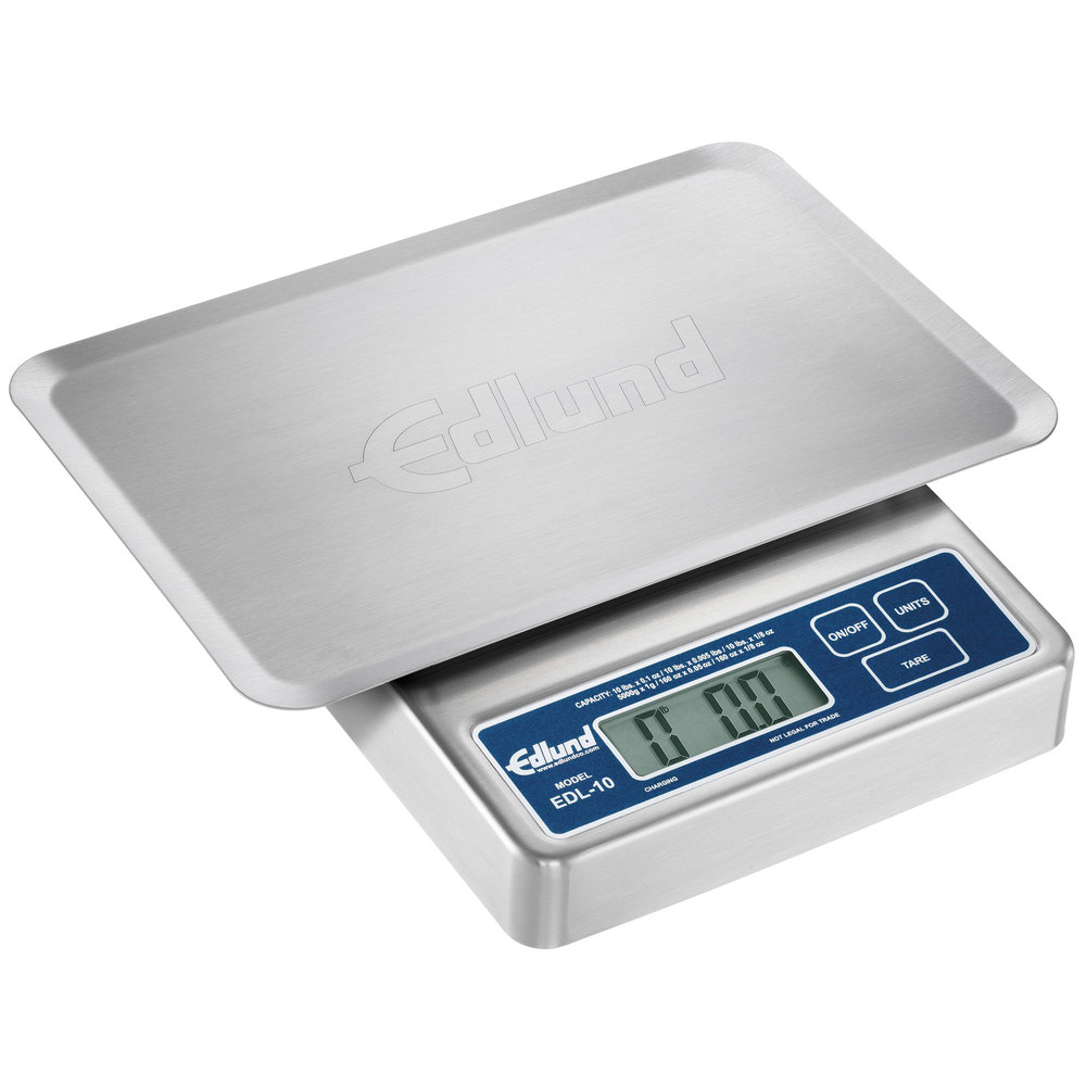 "Edlund EDL-10 OP Rechargeable 10 lb. Digital Portion Control Scale with Oversized 7"" x 8 3/4"" Platform"