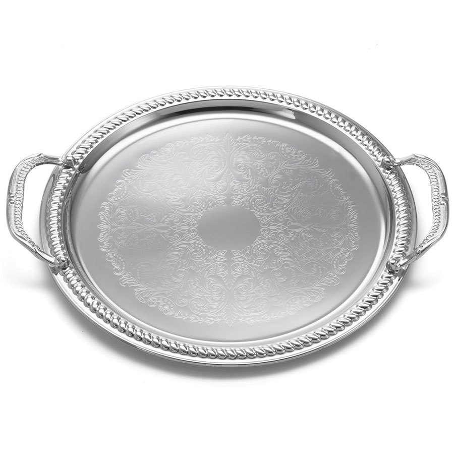"Tablecraft CT13H 13"" Chrome Plated Serving Tray with Handles"