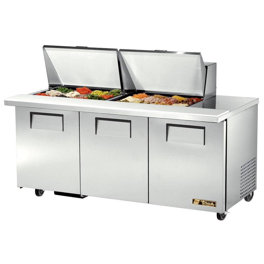 True TSSU-72-24M-B-ST 72 inch Mega Top Three Door Sandwich / Salad Prep Refrigerator - 24 Pans