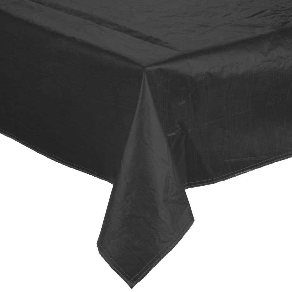 "52"" x 90"" Black Vinyl Table Cover with Flannel Back"
