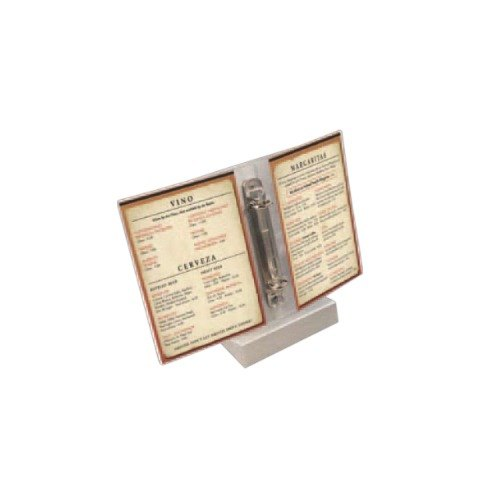 "Menu Solutions MIDBPP Clear 2-Hole Page Protectors for Middle Ring Menu Tents - 5"" x 7"" - 25 / Pack"