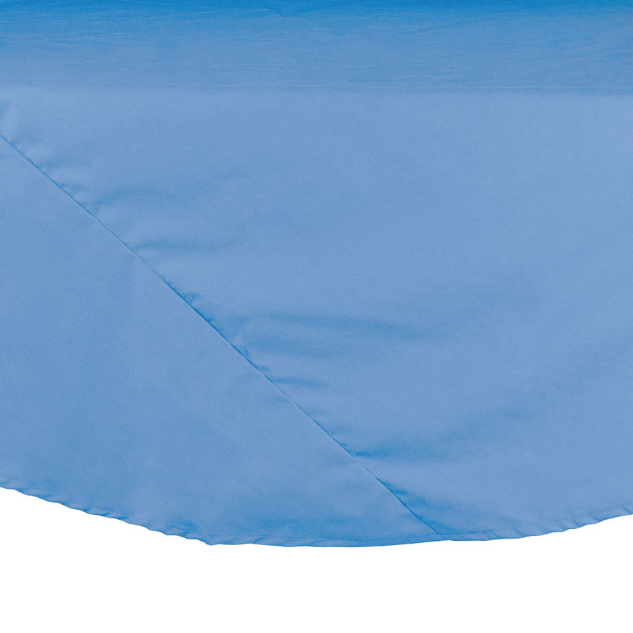 "64"" Light Blue Round Hemmed Polyspun Cloth Table Cover"