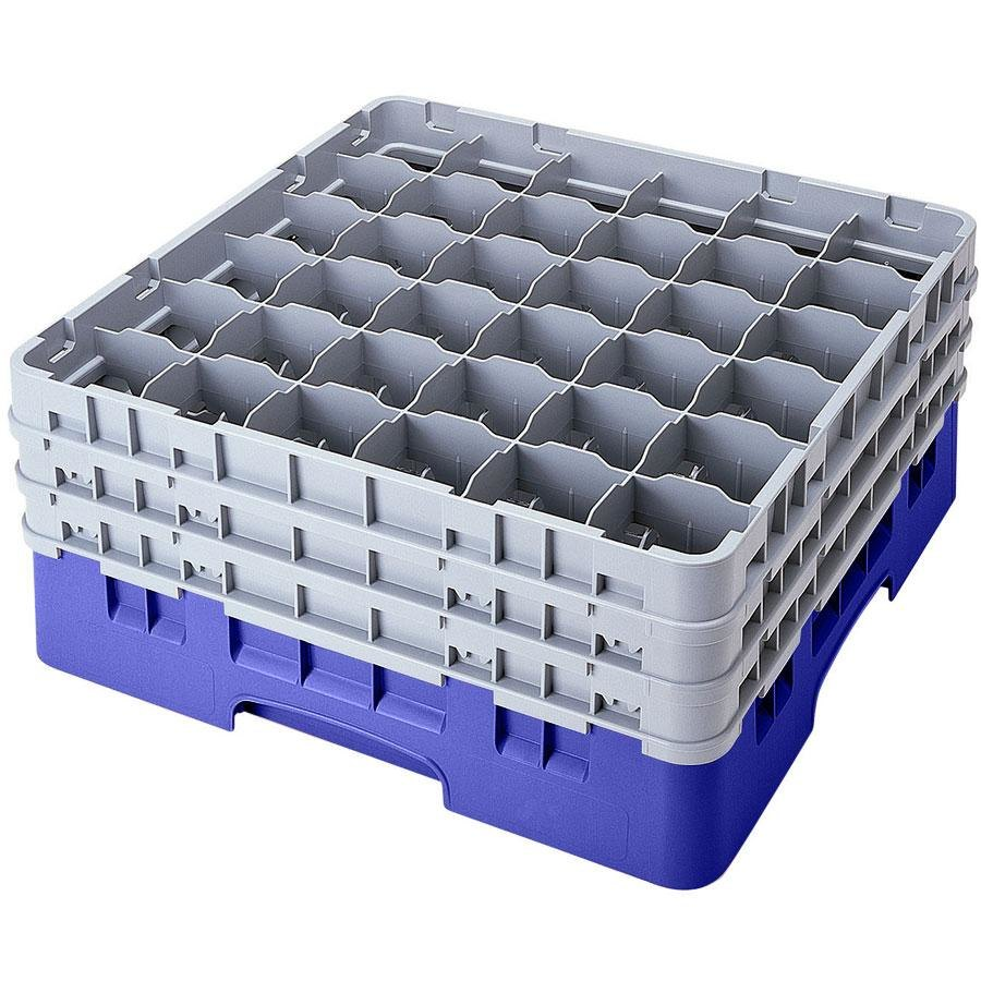 "Cambro 36S1058168 Blue Camrack 36 Compartment 11"" Glass Rack"