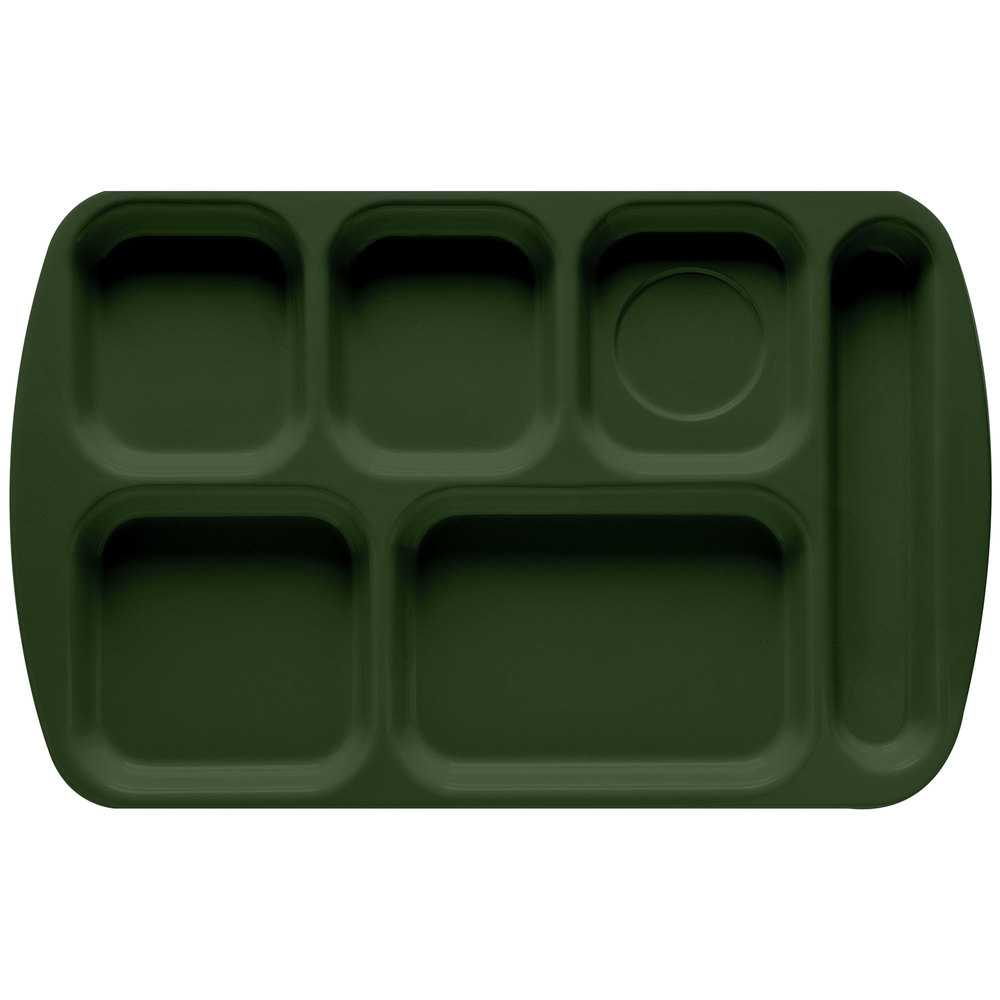 "GET TR-151 Hunter Green Melamine 10"" x 15 1/2"" Right Hand 6 Compartment Tray - 12/Pack"