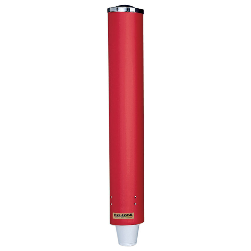 "San Jamar C4210PRD Pull-Type Red 4 - 10 oz. Paper and Plastic Cup Dispenser - 23 1/2"" Long"