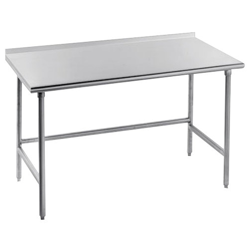 "Advance Tabco TSFG-300 30"" x 30"" 16 Gauge Super Saver Commercial Work Table with 1 1/2"" Backsplash"