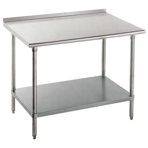 "16 Gauge Advance Tabco FMG-240 24"" x 30"" Stainless Steel Commercial Work Table with Undershelf and 1 1/2"" Backsplash"