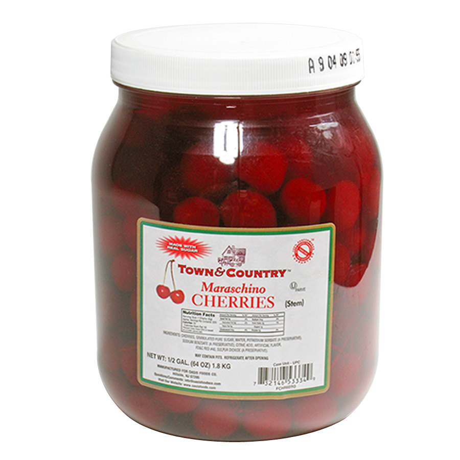 Maraschino Cherries with Stems - 1/2 Gallon