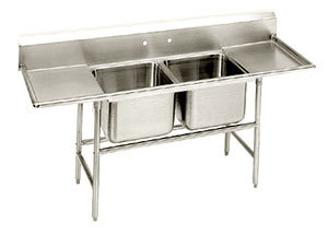 "Advance Tabco T9-22-40-18RL Two Compartment Stainless Steel Commercial Sink with Two Drainboards- 81"" at Sears.com"
