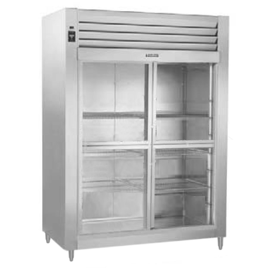 Traulsen RHT232WUT-HSL Stainless Steel 51.6 Cu. Ft. Two Section Sliding Glass Half Door Reach In Refrigerator - Specification Line