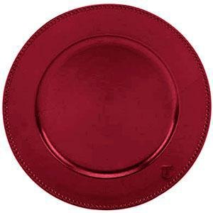 "Tabletop Classics TRR-6655 13"" Red Round Acrylic Charger Plate with Beaded Rim"